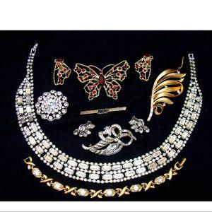 Vintage rhinestone jewelry lot pin necklace bundle